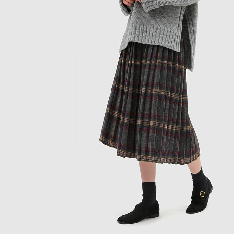 Vintage check pleats skirt 패션쇼핑몰 모스빈(Mossbean)